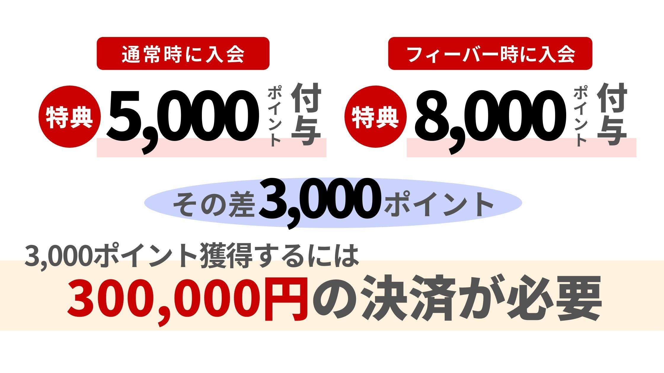 3,000ポイントを集めるためには300,000円の決済が必要